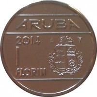 reverse of 1 Florin - Willem-Alexander (2014) coin with KM# 56 from Aruba. Inscription: ARUBA 2014 1 fLORIN