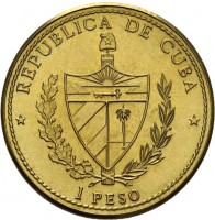 obverse of 1 Peso - V Centenário Cristobal Colon (1990) coin with KM# 308 from Cuba. Inscription: REPUBLICA DE CUBA 1 PESO
