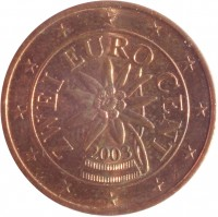 obverse of 2 Euro Cent (2002 - 2015) coin with KM# 3083 from Austria. Inscription: ZWEI EURO CENT 2003