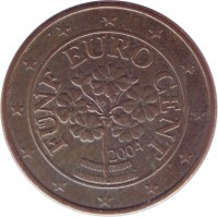obverse of 5 Euro Cent (2002 - 2015) coin with KM# 3084 from Austria. Inscription: FÜNF EURO CENT 2004