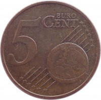 reverse of 5 Euro Cent (2002 - 2015) coin with KM# 3084 from Austria. Inscription: 5 EURO CENT LL