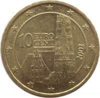 obverse of 10 Euro Cent - 1'st Map (2002 - 2007) coin with KM# 3085 from Austria. Inscription: 10 EURO CENT 2002