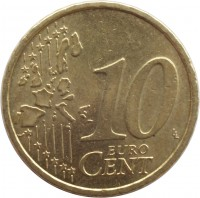 reverse of 10 Euro Cent - 1'st Map (2002 - 2007) coin with KM# 3085 from Austria. Inscription: 10 EURO CENT LL