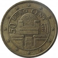 obverse of 50 Euro Cent - 1'st Map (2002 - 2007) coin with KM# 3087 from Austria. Inscription: 50 EURO CENT 2002 VER SACRUM