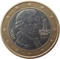 obverse of 1 Euro - 1'st Map (2002 - 2007) coin with KM# 3088 from Austria. Inscription: 1 EURO 2007
