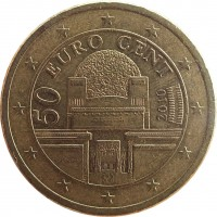 obverse of 50 Euro Cent - 2'nd Map (2008 - 2015) coin with KM# 3141 from Austria. Inscription: 50 EURO CENT 2010 VER SACRUM