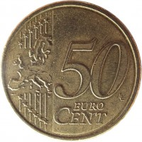 reverse of 50 Euro Cent - 2'nd Map (2008 - 2015) coin with KM# 3141 from Austria. Inscription: 50 EURO CENT LL