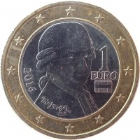 obverse of 1 Euro - 2'nd Map (2008 - 2017) coin with KM# 3142 from Austria. Inscription: 1 EURO 2016