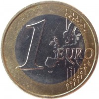 reverse of 1 Euro - 2'nd Map (2008 - 2017) coin with KM# 3142 from Austria. Inscription: 1 EURO LL