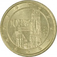 obverse of 10 Euro Cent - 2'nd Map (2008 - 2015) coin with KM# 3139 from Austria. Inscription: 10 EURO CENT 2008