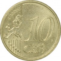 reverse of 10 Euro Cent - 2'nd Map (2008 - 2015) coin with KM# 3139 from Austria. Inscription: 10 EURO CENT LL