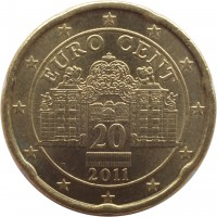 obverse of 20 Euro Cent - 2'nd Map (2008 - 2015) coin with KM# 3140 from Austria. Inscription: EURO CENT 20 2011
