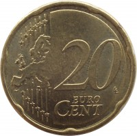 reverse of 20 Euro Cent - 2'nd Map (2008 - 2015) coin with KM# 3140 from Austria. Inscription: 20 EURO CENT LL