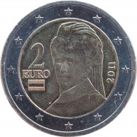 obverse of 2 Euro - 2'nd Map (2008 - 2015) coin with KM# 3143 from Austria. Inscription: 2 EURO 2011