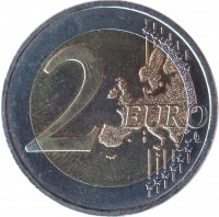 reverse of 2 Euro - 2'nd Map (2008 - 2015) coin with KM# 3143 from Austria. Inscription: 2 EURO LL
