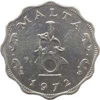 obverse of 5 Mils (1972 - 1981) coin with KM# 7 from Malta. Inscription: MALTA 1972