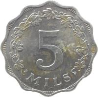 reverse of 5 Mils (1972 - 1981) coin with KM# 7 from Malta. Inscription: 5 MILS