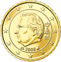obverse of 10 Euro Cent - Albert II - 2'nd Map; 2'nd Type; 2'nd Portrait (2008) coin with KM# 277 from Belgium. Inscription: A II 2008 BE