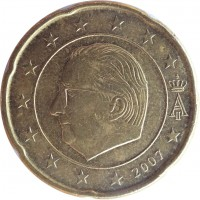 obverse of 20 Euro Cent - Albert II - 2'nd Map; 1'st Type; 1'st Portrait (2007) coin with KM# 243 from Belgium. Inscription: A II 2007