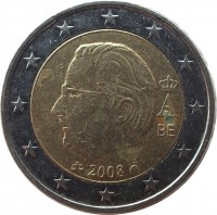 obverse of 2 Euro - Albert II - 2'nd Map; 2'nd Type; 2'nd Portrait (2008) coin with KM# 281 from Belgium. Inscription: BE 2008