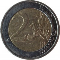 reverse of 2 Euro - Albert II - 2'nd Map; 2'nd Type; 2'nd Portrait (2008) coin with KM# 281 from Belgium. Inscription: 2 EURO LL