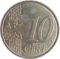 reverse of 10 Euro Cent - Albert II - 2'nd Map; 2'nd Type; 1'st Portrait (2009 - 2013) coin with KM# 298 from Belgium. Inscription: 10 EURO CENT LL