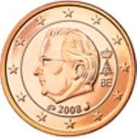 obverse of 1 Euro Cent - Albert II - 2'nd Type; 1'st Portrait (2009 - 2013) coin with KM# 295 from Belgium. Inscription: A II 2012 BE