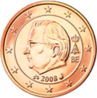 obverse of 2 Euro Cent - Albert II - 2'nd Type; 1'st Portrait (2009 - 2013) coin with KM# 296 from Belgium. Inscription: A II 2013 BE