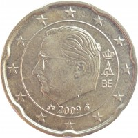 obverse of 20 Euro Cent - Albert II - 2'nd Map; 2'nd Type; 1'st Portrait (2009 - 2013) coin with KM# 299 from Belgium. Inscription: A II 2009 BE