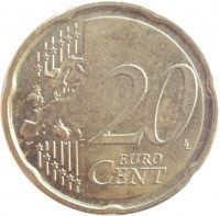 reverse of 20 Euro Cent - Albert II - 2'nd Map; 2'nd Type; 1'st Portrait (2009 - 2013) coin with KM# 299 from Belgium. Inscription: 20 EURO CENT LL