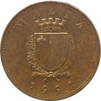 obverse of 1 Cent (1991 - 2007) coin with KM# 93 from Malta. Inscription: MALTA REPUBLIKA TA'MALTA 1995