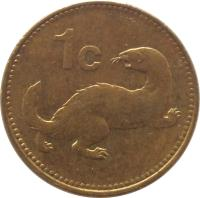 reverse of 1 Cent (1991 - 2007) coin with KM# 93 from Malta. Inscription: 1 c