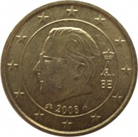 obverse of 50 Euro Cent - Albert II - 2'nd Map; 2'nd Type; 2'nd Portrait (2008) coin with KM# 279 from Belgium. Inscription: A II 2008 BE