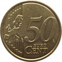 reverse of 50 Euro Cent - Albert II - 2'nd Map; 2'nd Type; 2'nd Portrait (2008) coin with KM# 279 from Belgium. Inscription: 50 EURO CENT LL