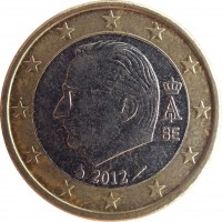 obverse of 1 Euro - Albert II - 2'nd Map; 2'nd Type; 1'st Portrait (2009 - 2013) coin with KM# 301 from Belgium. Inscription: A II BE 2012