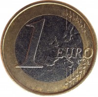 reverse of 1 Euro - Albert II - 2'nd Map; 2'nd Type; 1'st Portrait (2009 - 2013) coin with KM# 301 from Belgium. Inscription: 1 EURO LL