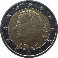 obverse of 2 Euro - Albert II - 2'nd Map; 2'nd Type; 1'st Portrait (2009 - 2013) coin with KM# 302 from Belgium. Inscription: BE 2011