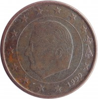 obverse of 5 Euro Cent - Albert II - 1'st Type; 1'st Portrait (1999 - 2007) coin with KM# 226 from Belgium. Inscription: A II 1999