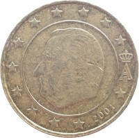 obverse of 10 Euro Cent - Albert II - 1'st Map; 1'st Type; 1'st Portrait (1999 - 2006) coin with KM# 227 from Belgium. Inscription: A II 2001