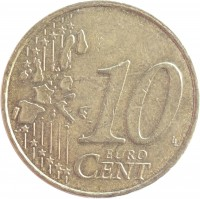 reverse of 10 Euro Cent - Albert II - 1'st Map; 1'st Type; 1'st Portrait (1999 - 2006) coin with KM# 227 from Belgium. Inscription: 10 EURO CENT LL