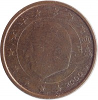obverse of 2 Euro Cent - Albert II - 1'st Type; 1'st Portrait (1999 - 2007) coin with KM# 225 from Belgium. Inscription: A II 2000