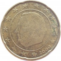 obverse of 20 Euro Cent - Albert II - 1'st Map; 1'st Type; 1'st Portrait (1999 - 2006) coin with KM# 228 from Belgium. Inscription: A II 2000