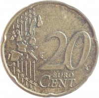 reverse of 20 Euro Cent - Albert II - 1'st Map; 1'st Type; 1'st Portrait (1999 - 2006) coin with KM# 228 from Belgium. Inscription: 20 EURO CENT LL