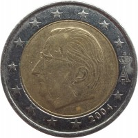 obverse of 2 Euro - Albert II - 1'st Map; 1'st Type; 1'st Portrait (1999 - 2006) coin with KM# 231 from Belgium. Inscription: A II 2000