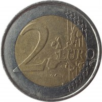 reverse of 2 Euro - Albert II - 1'st Map; 1'st Type; 1'st Portrait (1999 - 2006) coin with KM# 231 from Belgium. Inscription: 2 EURO LL