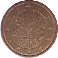 obverse of 2 Euro Cent (2002 - 2016) coin with KM# 208 from Germany. Inscription: 2003 A