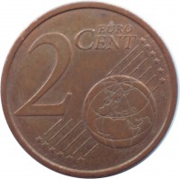reverse of 2 Euro Cent (2002 - 2016) coin with KM# 208 from Germany. Inscription: 2 EURO CENT LL