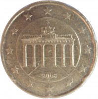 obverse of 20 Euro Cent - 1'st Map (2002 - 2007) coin with KM# 211 from Germany. Inscription: 2006 F