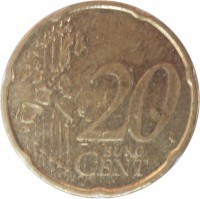 reverse of 20 Euro Cent - 1'st Map (2002 - 2007) coin with KM# 211 from Germany. Inscription: 20 EURO CENT LL