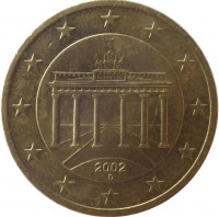 obverse of 50 Euro Cent - 1'st Map (2002 - 2006) coin with KM# 212 from Germany. Inscription: 2002 D